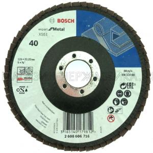 Круг лепестковый торцевой цирконий125х22 Р40 Bosch